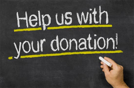Help us with your donation written on a blackboard